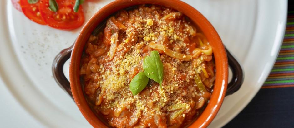 Espagueti Vegetal con Boloñesa de Lentejas y Champiñones