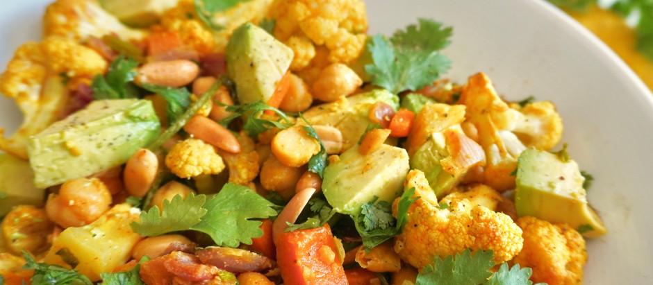Ensalada de Coliflor con Garbanzos al Curry