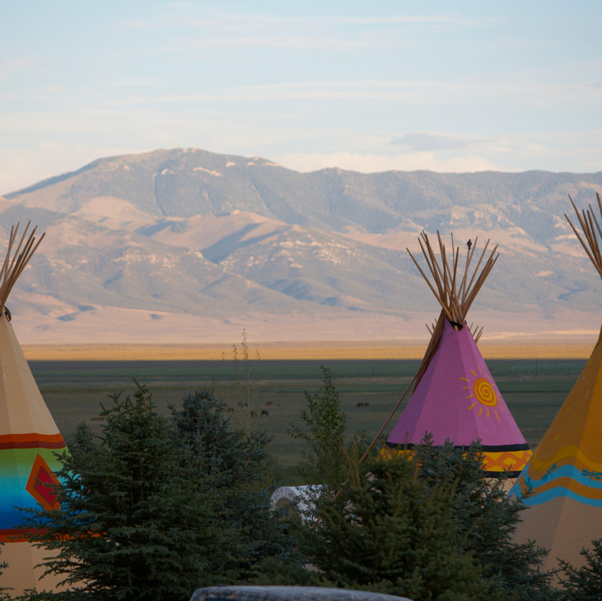 Mustang monument rainbow tipis