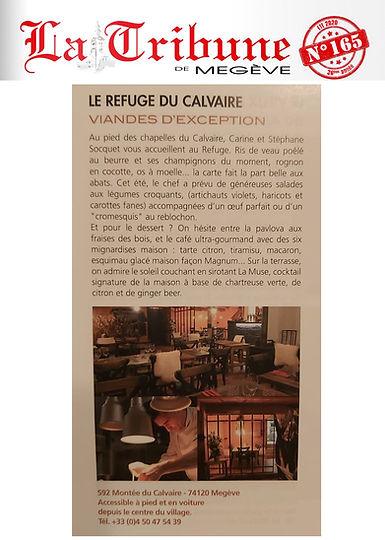article paru dans le journal La Tribune de Megeve