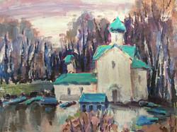 В. Ахмедова. Осень в Новгороде Ц. Иоанна Богослова