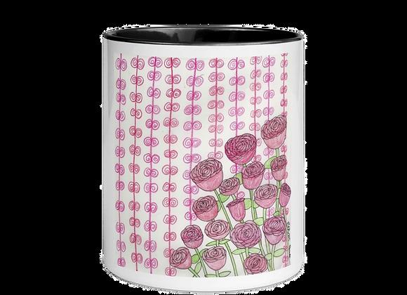"""Roses"" Mug w/Color Inside"