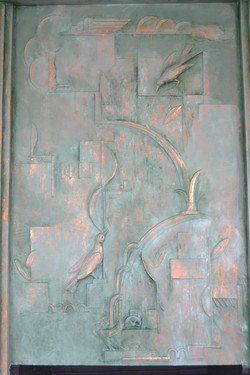 Bas-relief mural, copper and patina