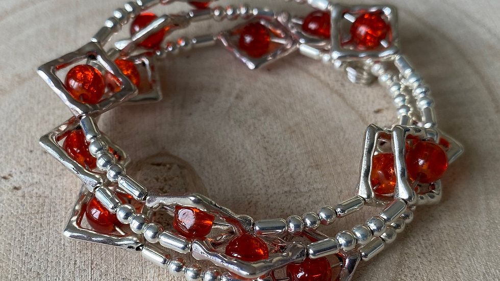 Red and silver diamond memory wire bracelet