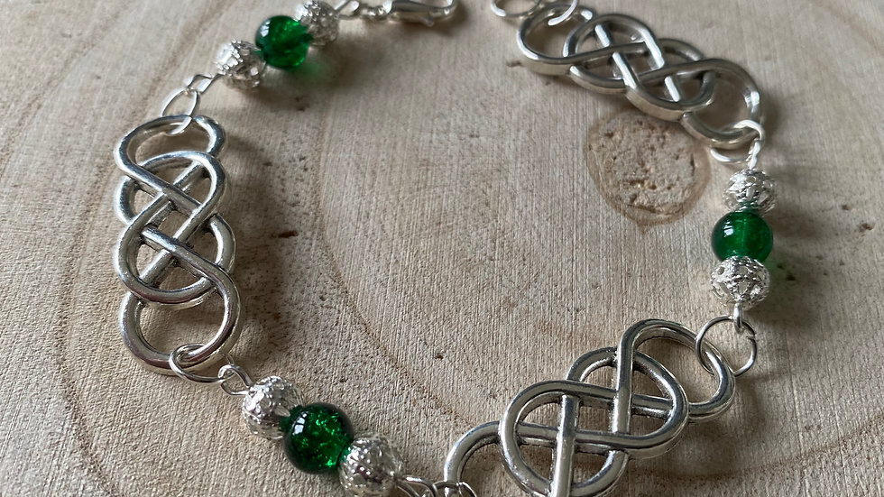 Dark green and silver double infinity bracelet