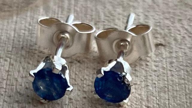 Delicate, handmade sterling silver sapphire stud earrings
