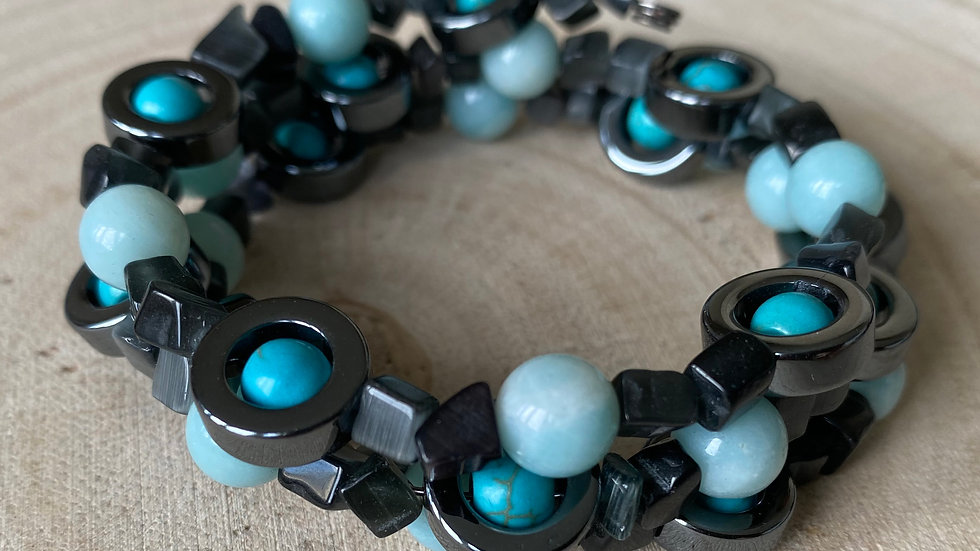Amazonite, turquoise and hematite memory wire bracelet