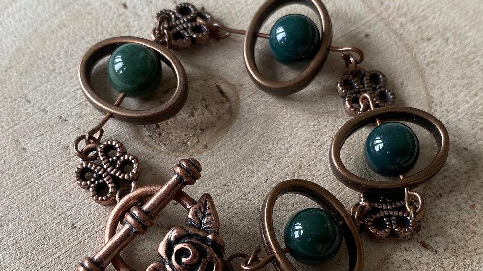 Dark green moss agate and copper bracelet