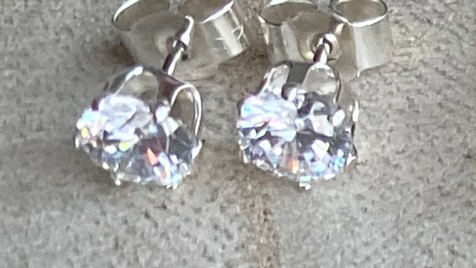 Handmade sterling silver Swarovski stud earrings: white
