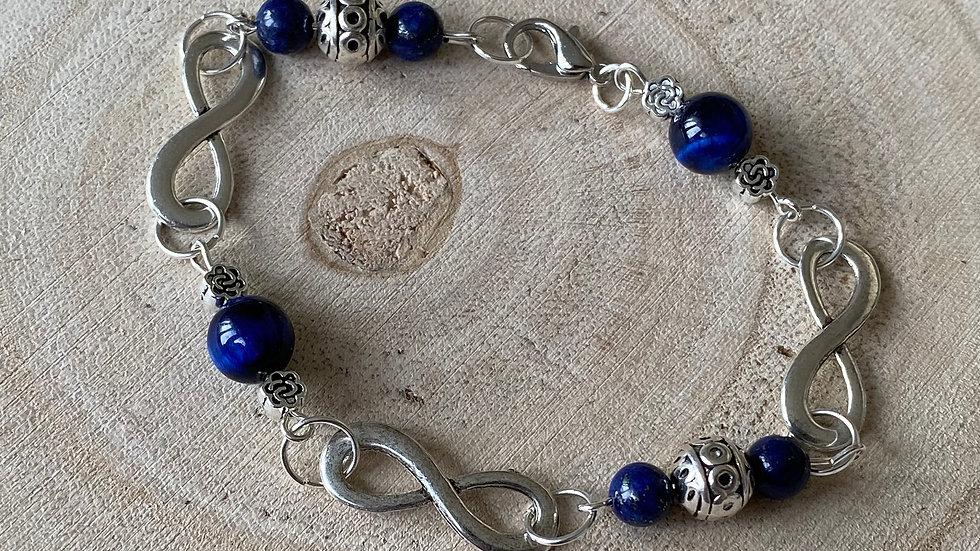 Blue tiger eye and silver infinity bracelet