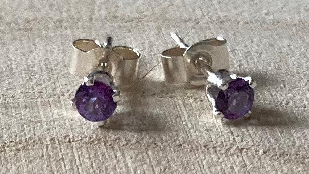 Delicate, handmade sterling silver Swarovski violac topaz stud earrings