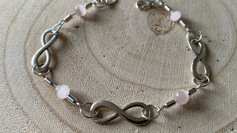 Pink and silver infinity bracelet