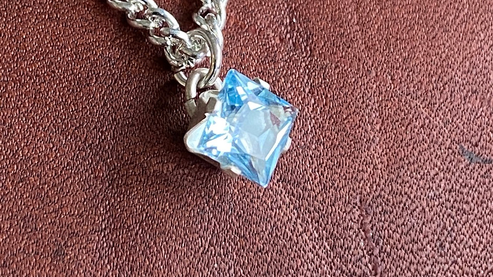 Sterling silver and sky blue topaz square necklace