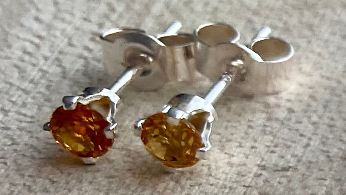 Delicate, handmade sterling silver citrine stud earrings
