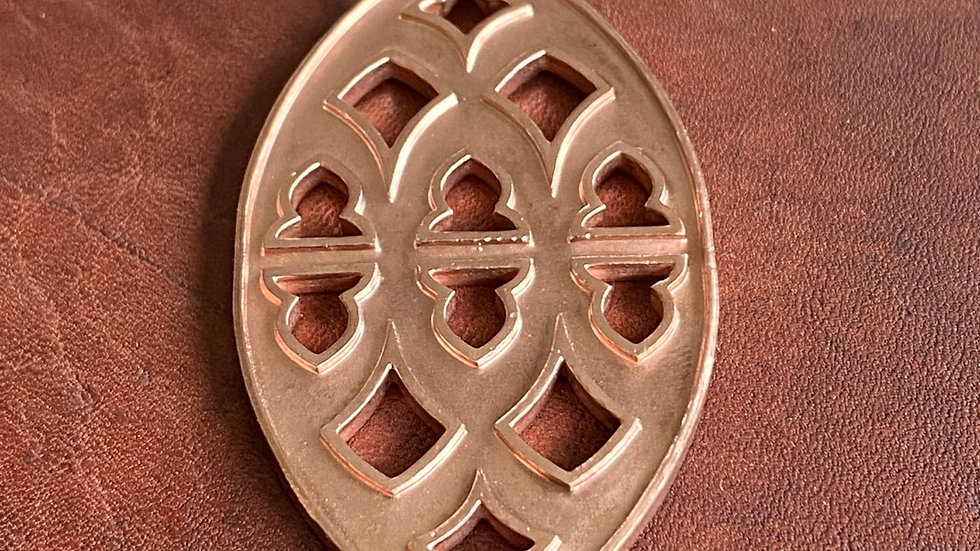 Strawberry Hill pendant: copper with cut out detail