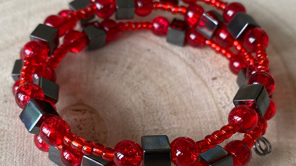 Red and hematite memory wire bracelet