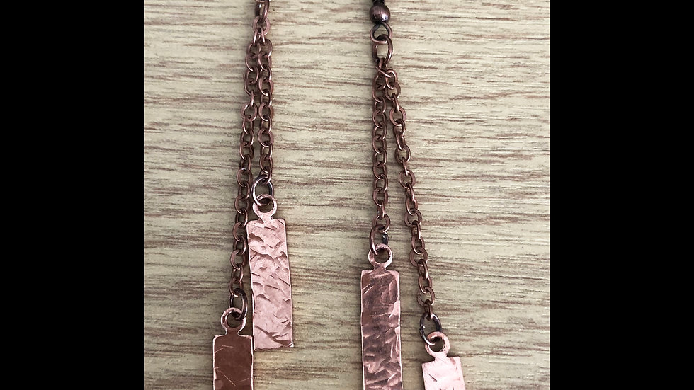 Copper textured rectangular earrings