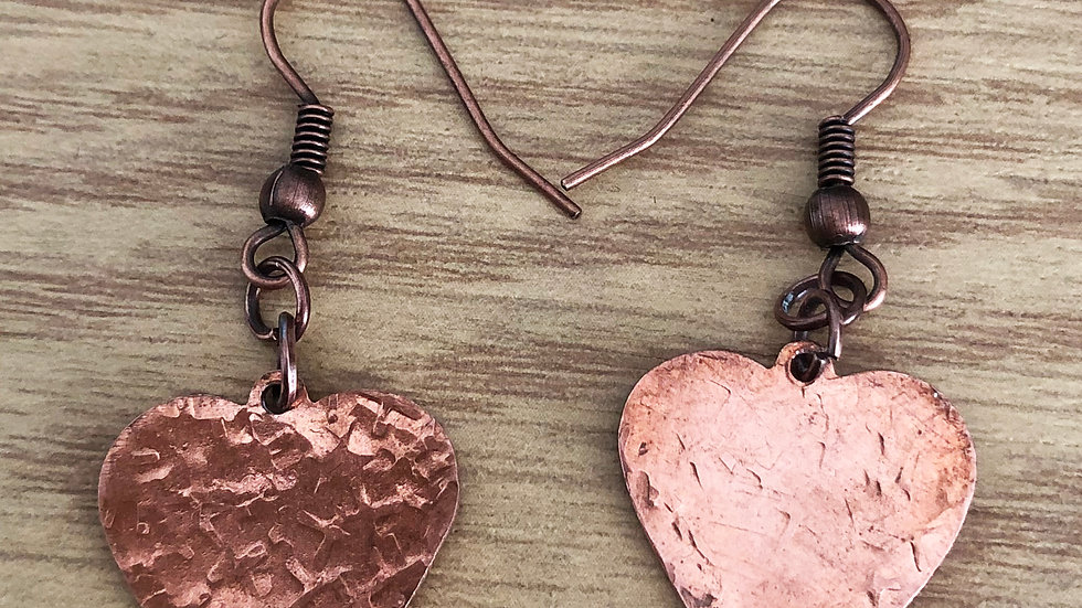 Copper textured heart earrings