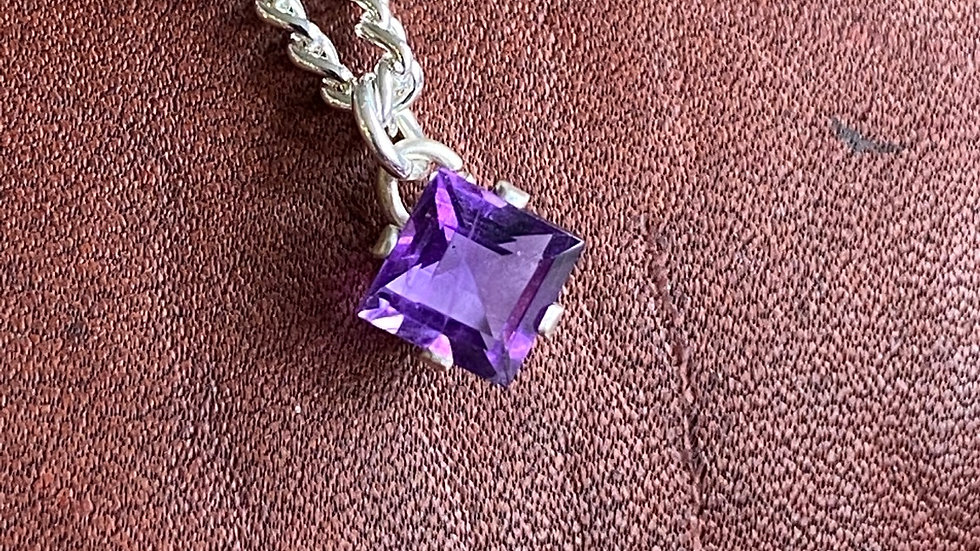 Sterling silver and amethyst square necklace