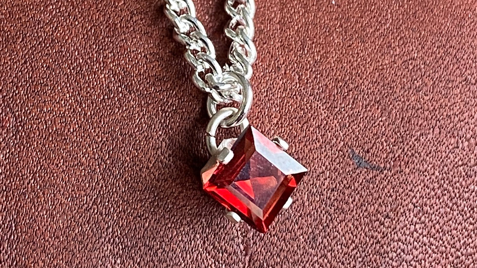 Sterling silver and garnet square necklace
