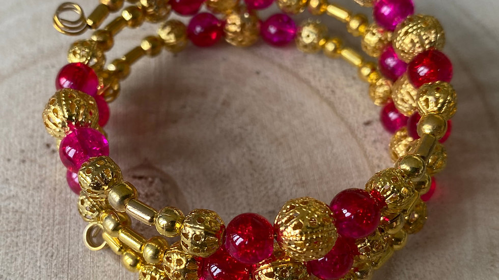 Pink, red and gold filigree memory wire bracelet