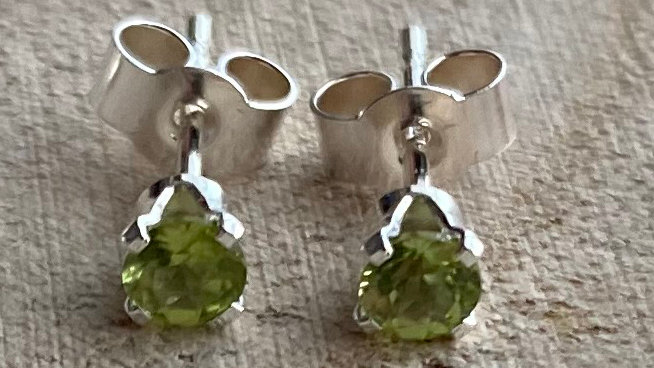 Delicate, handmade sterling silver peridot stud earrings