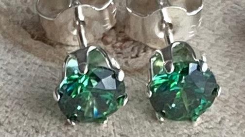 Handmade sterling silver Swarovski stud earrings: dark green