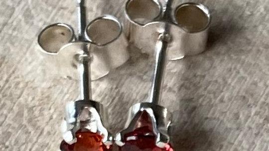 Delicate, handmade sterling silver garnet stud earrings