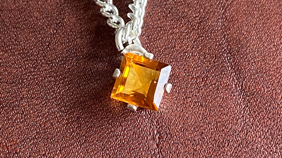 Sterling silver and citrine square necklace