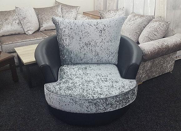 Swivel Chair in Grey/Black Crushed Velvet/Leather