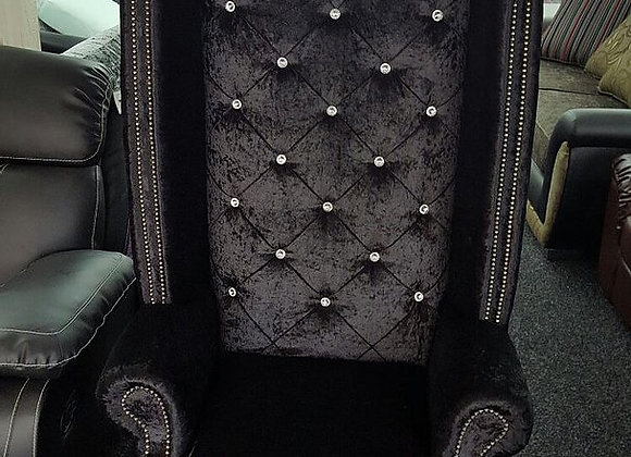 Chesterfield High Back Queen Anne Chair in Black Crushed Velvet