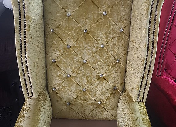 Chesterfield High Back Queen Anne Chair in Yellow Crushed Velvet