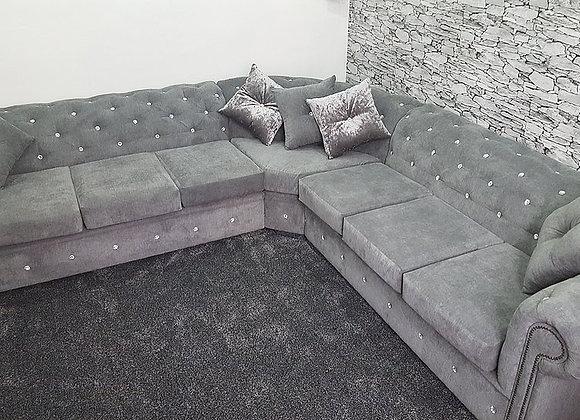 Chesterfield Corner Sofa in Grey Fabric