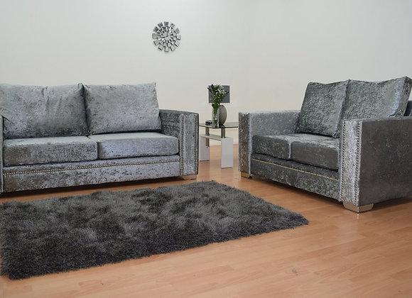 Abbey Sofa in Grey Crushed Velvet
