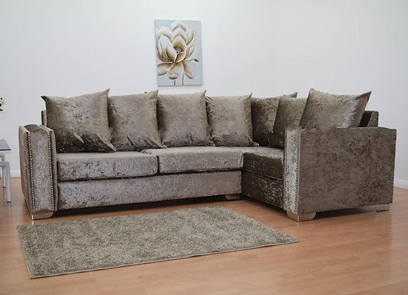 Abbey Corner Sofa in Chocolate Crushed Velvet