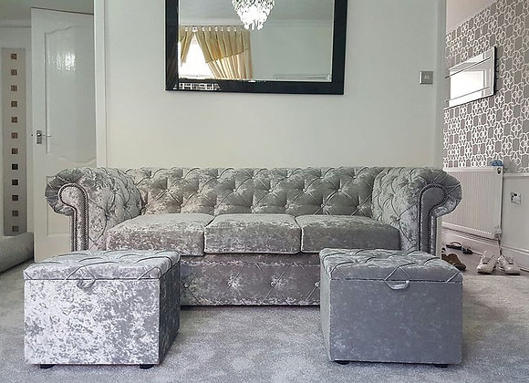 Chesterfield Sofa in Ice Silver Crushed Velvet