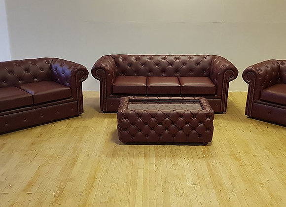 Chesterfield in Ox Blood Faux Leather