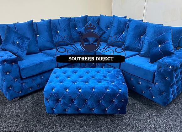Ashton Corner Sofa in Blue French Velvet