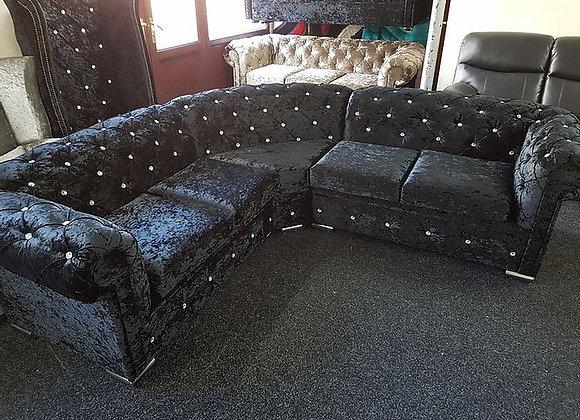 Chesterfield Corner Sofa in Black Crushed Velvet