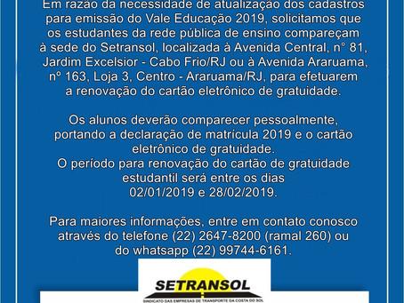RENOVAÇÃO DO CARTÃO ESTUDANTIL 2019