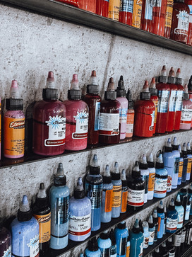 large ink wall for biggest selection of colours to create the perfect tattoo for you