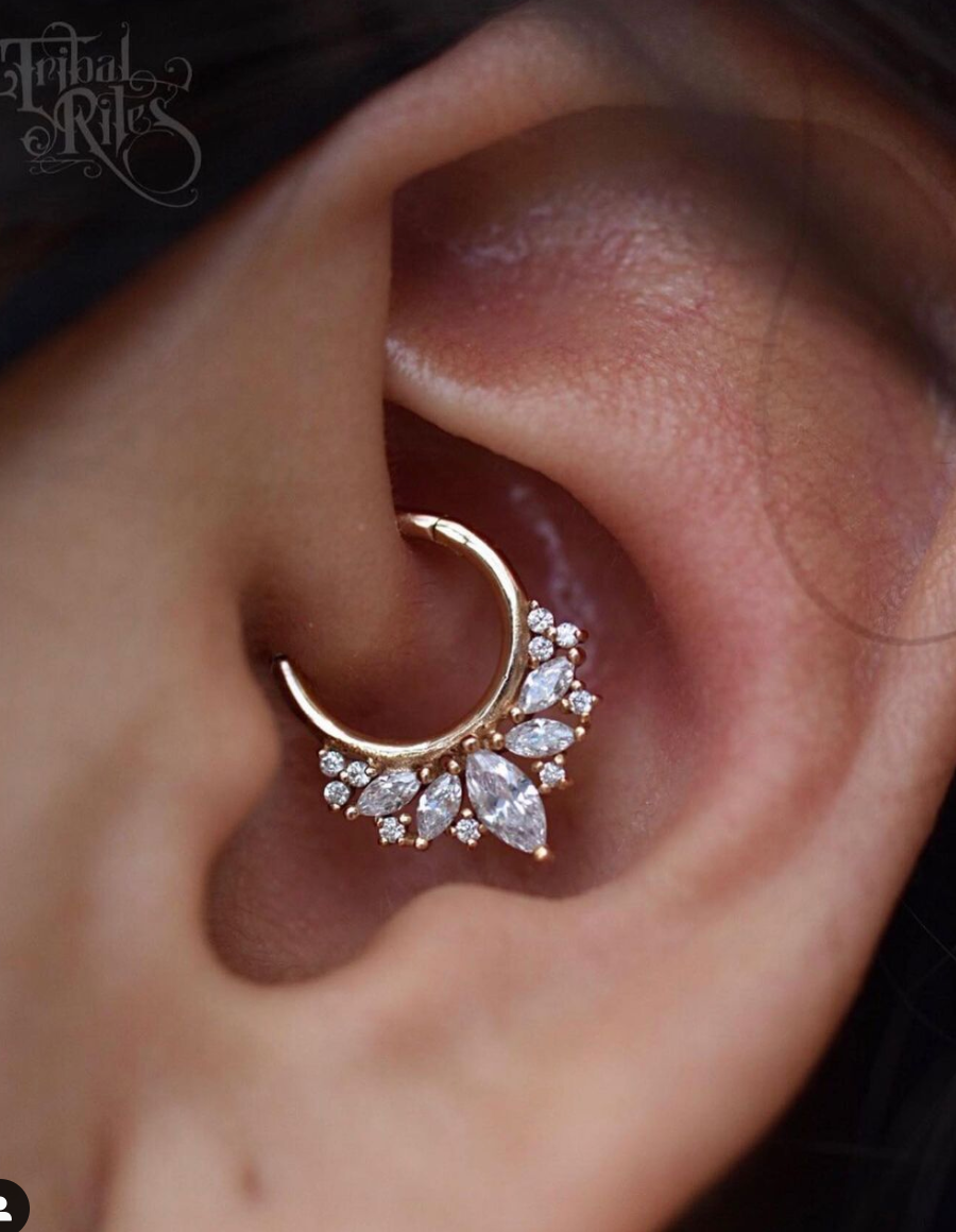 elite clicker by buddha organics - rose gold Swarovski crystals daith septum