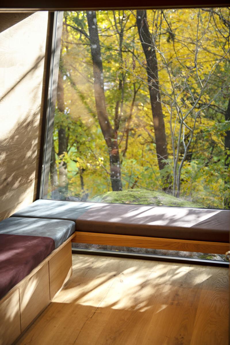 Het bos kan vanuit het huisje ervaren worden, ramen kunnen wijd open, zodat alle zintuigen kunnen meegenieten.