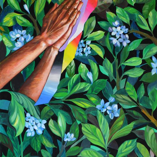 Haris Rashid, Pray III, 90 x 60 cm, Acry