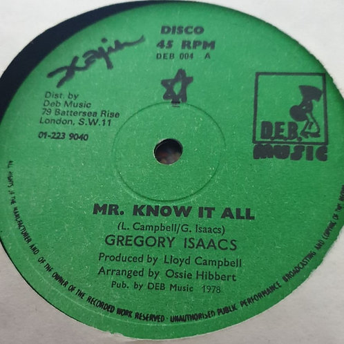 """MR KNOW IT ALL GREGORY ISACCS ORIG D.E.B 12"""""""