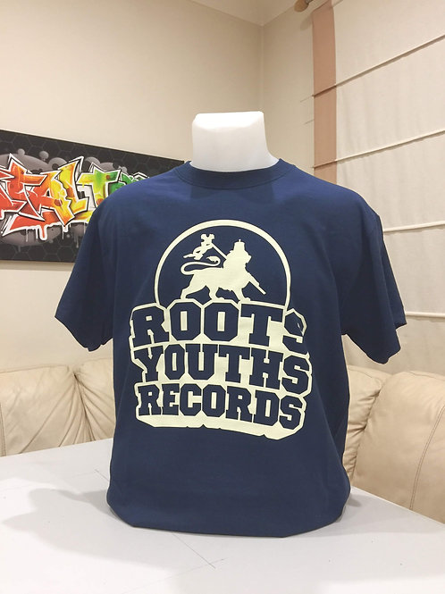 NAVY BLUE ROOTS YOUTHS RECORDS T SHIRT