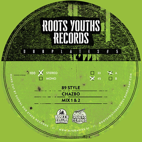 89 STYLE CHAZBO ROOTS YOUTHS RECORDS DUBPLATE POLY VINLY SERIES 5