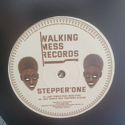 """LOST TEMPLE STEPPER ONE FEAT GURU POPE ROOTIKAL 45 WALKING MESS RECORDS 12"""""""