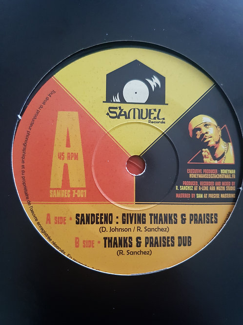 "GIVING THANKS AND PRAISE SANDEENO SAMUEL RECORDS 7"""