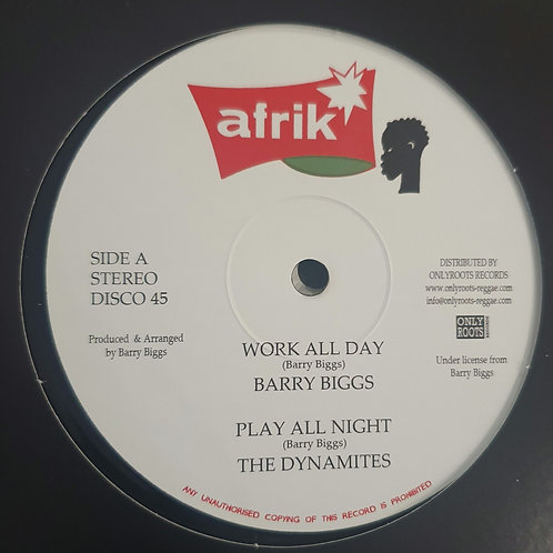 """WORK ALL DAY BARRY BIGGS  / WORKING MOOD CLARENCE WEARS AFRIKA 12""""  REISSUE"""